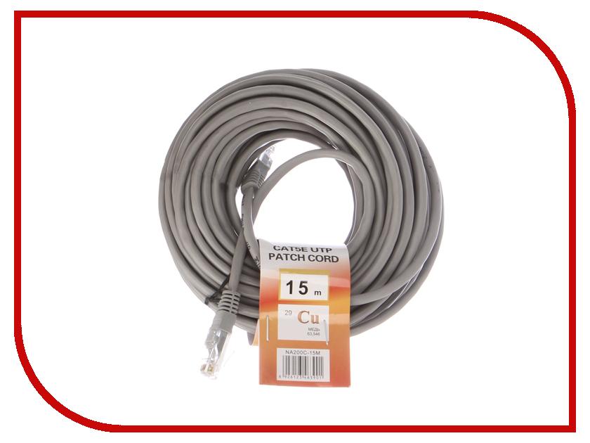Сетевой кабель Telecom UTP cat.5e 15m NA200C-15M Grey