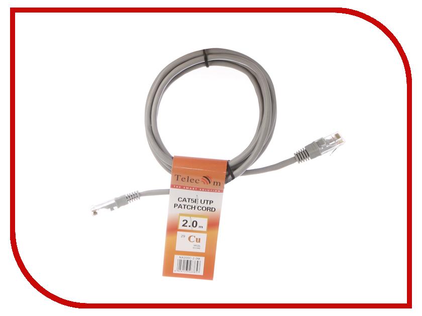 Сетевой кабель Telecom UTP cat.5e 2m NA200C-2M Grey кабель аудио 3 5 мм telecom tav7183 2m tav7183 2m