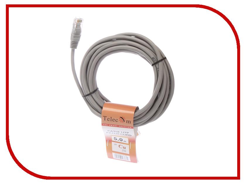 Сетевой кабель Telecom UTP cat.5e 5m NA200C-5M Grey кабель delink 3 5m 2х3 5f grey 0 3м