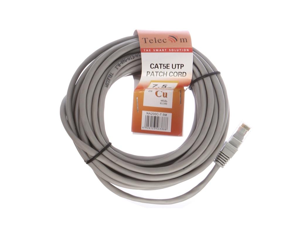 Сетевой кабель Telecom UTP cat.5e 7.5m NA200C-7.5M Grey