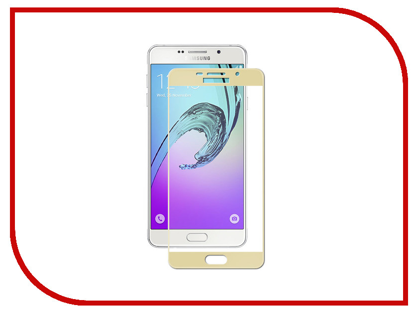 Аксессуар Защитное стекло для Samsung Galaxy A7 2016 A710/A7100 Ainy Full Screen Cover 0.33mm Gold AF-S477L
