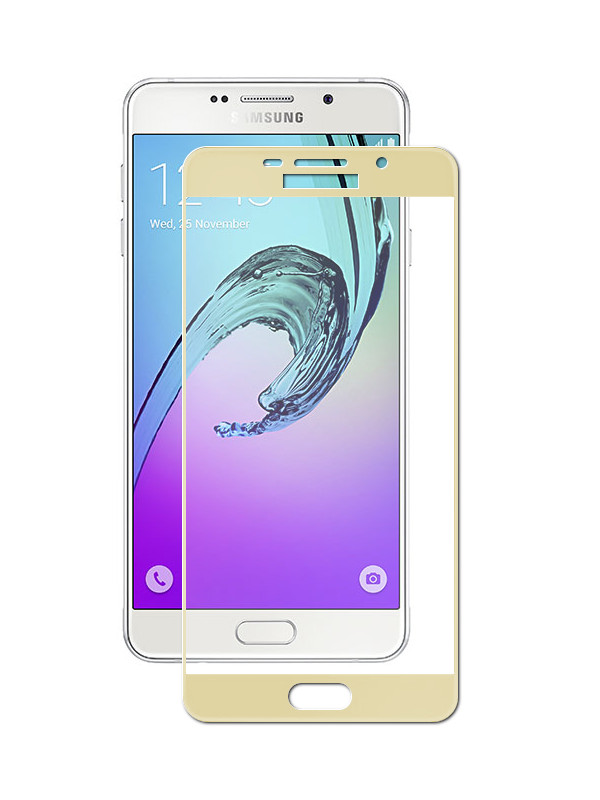 Аксессуар Защитное стекло Ainy для Samsung Galaxy A7 2016 A710/A7100 Full Screen Cover 0.33mm Gold AF-S477L аксессуар защитная пленка samsung galaxy a7 ainy матовая