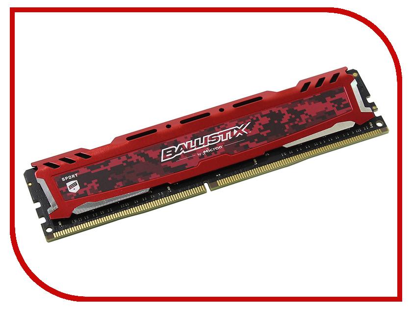Модуль памяти Crucial Ballistix Sport LT Red DDR4 DIMM 2400MHz PC4-19200 CL16 - 16Gb BLS16G4D240FSE модуль памяти crucial ballistix sport lt red ddr4 dimm 2666mhz pc4 21300 cl16 8gb bls8g4d26bfse