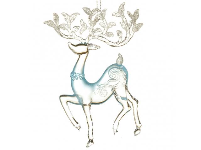 Елочная игрушка Crystal Deco Олень Silver-Turquoise 150199