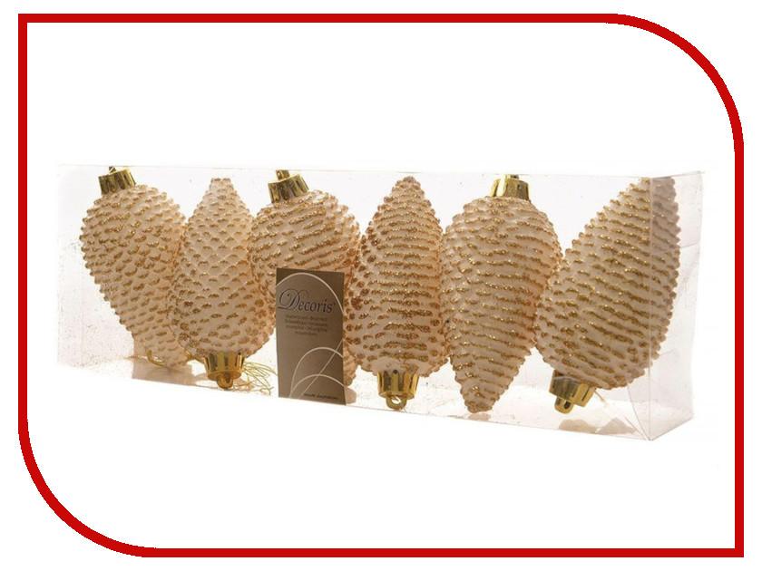 Украшение Kaemingk Шишки еловые 6шт White-Gold 028594 еловые шишки magic home еловые шишки