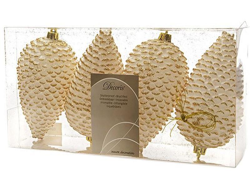Украшение Kaemingk Мерцающие шишки 4шт White Wool 028533 гирлянда белые розочки 32 led огня kaemingk 6 2м