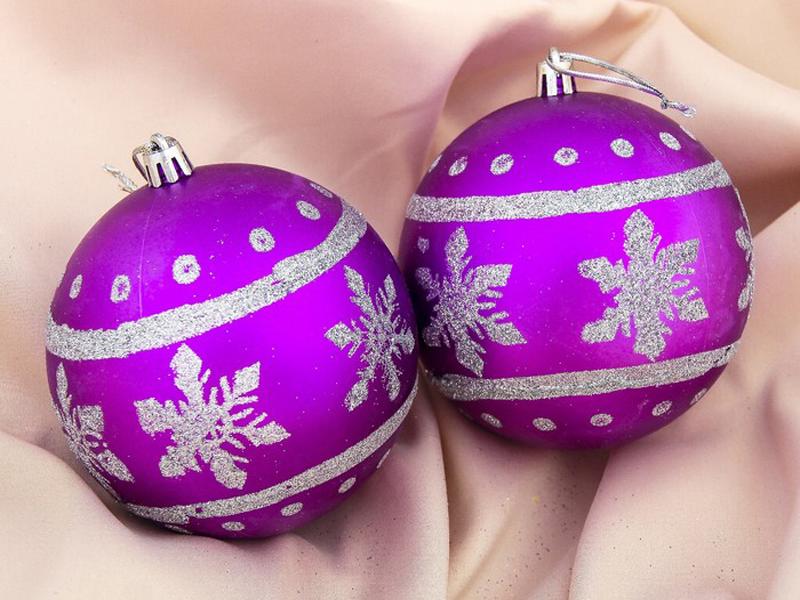 Украшение СИМА-ЛЕНД Набор шаров Парад снежинок 2шт Purple 3531484