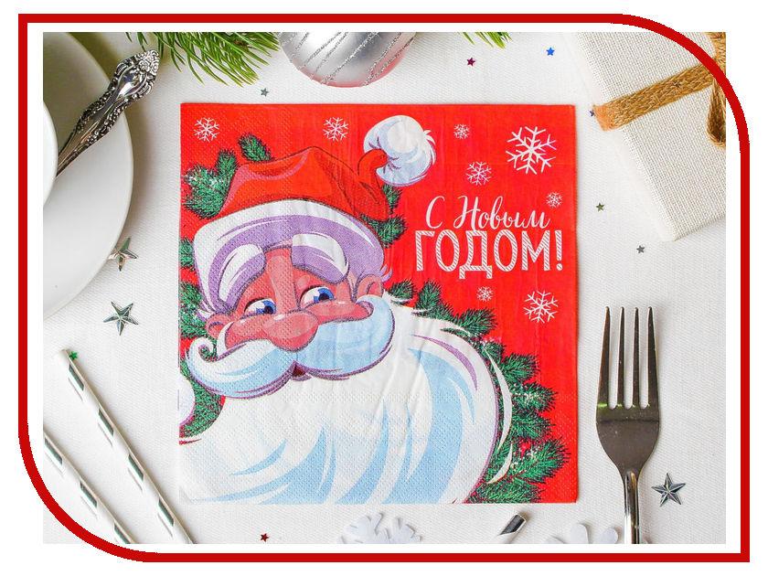 Салфетки Страна Карнавалия С Новым годом!, Дед Мороз 33x33см 20шт 3471031 новогодний сувенир страна карнавалия конфетти с новым годом енотик mix 2226407
