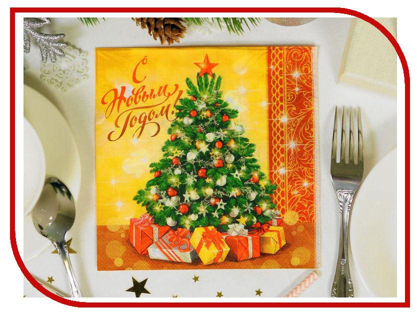 Салфетки Страна Карнавалия С Новым годом, ёлка 33x33см 20шт 2226484 новогодний сувенир страна карнавалия конфетти с новым годом енотик mix 2226407