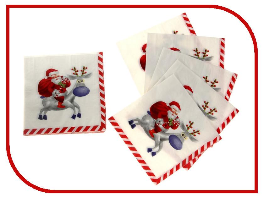 Салфетки Страна Карнавалия Дед мороз на олене 20шт 302226 подарочная упаковка страна карнавалия дед мороз с елочкой цвет мультиколор
