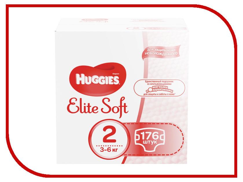 Подгузники Huggies Elite Soft 2 3-6кг 176шт ловулар подгузники s 3 6кг 28шт