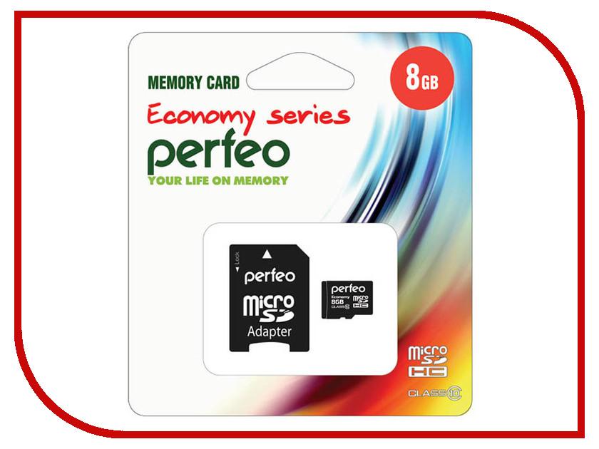 Карта памяти 8Gb - Perfeo Micro Secure Digital HC Class 10 PF8GMCSH10AES с переходником под SD карта памяти 8gb leef micro secure digital hc class 10 lfmsd 00810r