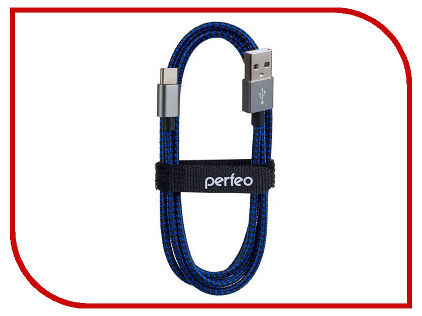 Аксессуар Perfeo USB 2.0 A - USB Type-C 1m Black-Blue U4903 аксессуар perfeo usb 2 0 a usb type c 1m black red u4901