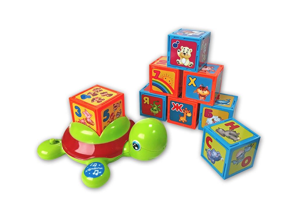 Кубики Азбукварик Черепашка Умняшка с кубиками 4680019282213 музыкальная игрушка в виде черепашки с кубиками черепашка умняшка с кубиками