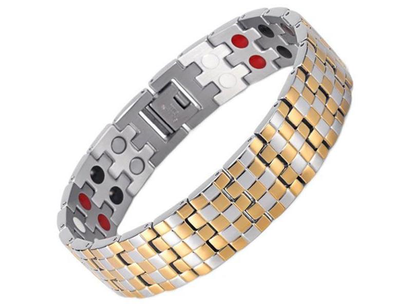 Магнитный браслет Luxor Аура Актив 4 в 2 Золотистый
