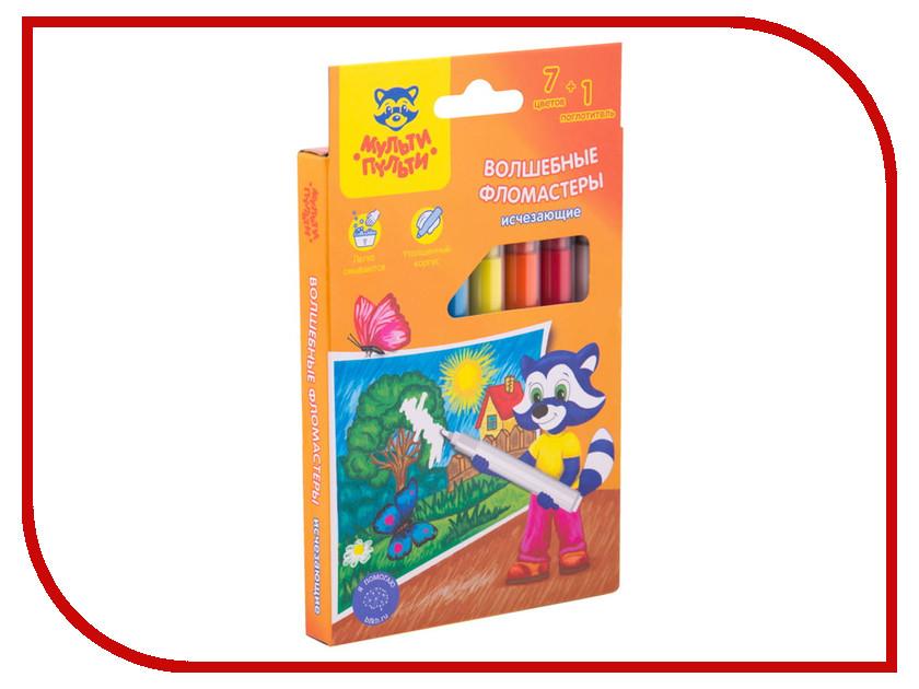 Фломастеры стираемые Мульти-пульти Приключения Енота 7 цветов + 1 стиратель WP_19550 мульти пульти набор фломастеров 6 цветов