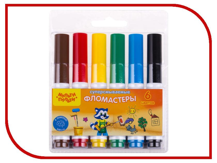 Фломастеры Мульти-пульти Приключения Енота 6 цветов WP_19279 мульти пульти набор фломастеров 6 цветов