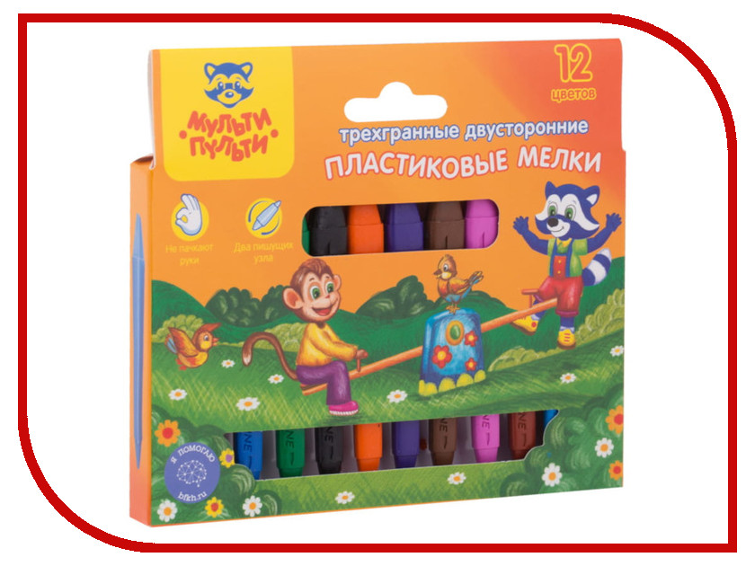 Мелки пластиковые Мульти-пульти Приключения Енота 12 цветов PC_20135 мульти пульти набор фломастеров 6 цветов