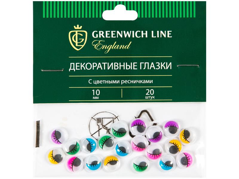 Набор Greenwich Line Материал декоративный Глазки с цветными ресничками 10mm 20шт WE_20431
