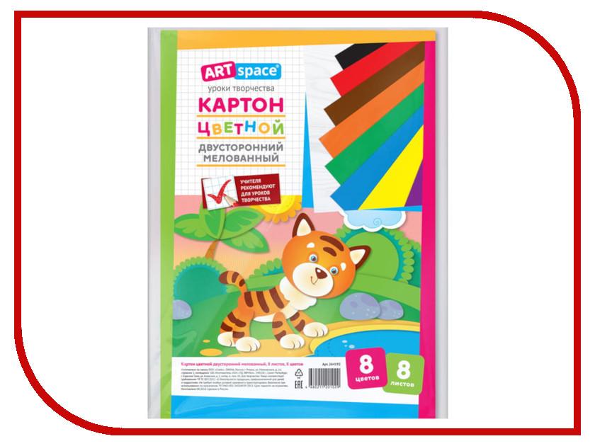 Цветной картон ArtSpace A4 8 листов 8 цветов Двусторонний 264192 апплика цветной картон 8 листов 8 цветов