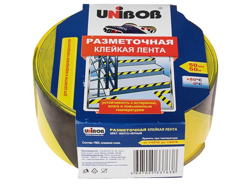 Клейкая лента Unibob Разметочная 50mm x 50m Yellow-Black 48905