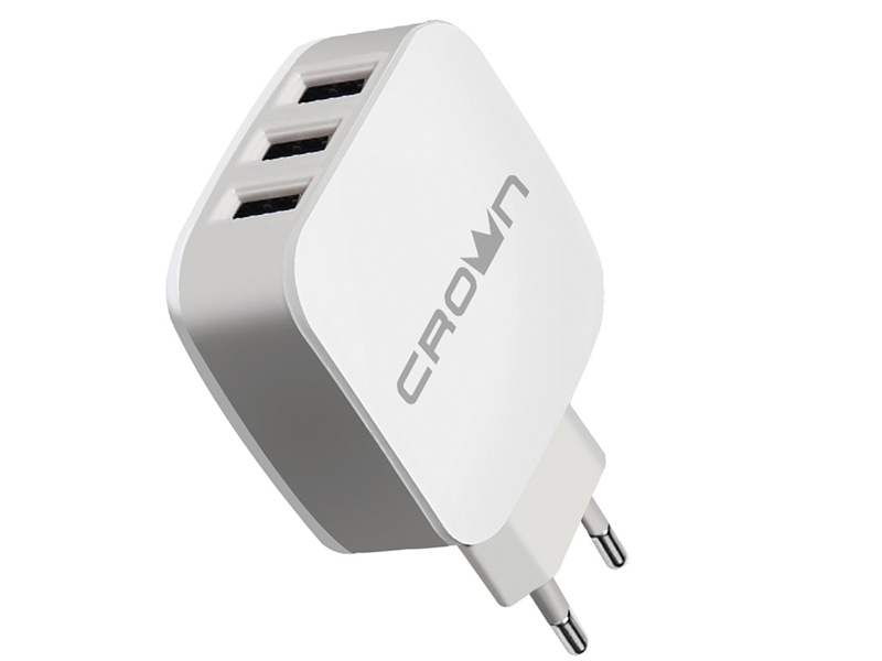 Зарядное устройство Crown CMWC-3053 3xUSB White-Grey зарядное устройство crown cmwc 3083f 3xusb white grey