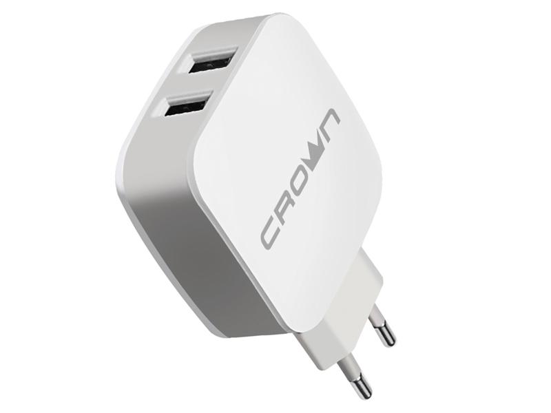 Зарядное устройство Crown CMWC-3022 2xUSB White-Grey