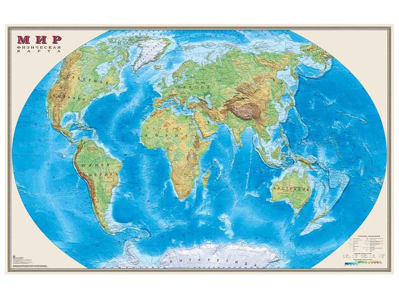 Карта Мир физическая DMB 1220x790mm ОСН1223992