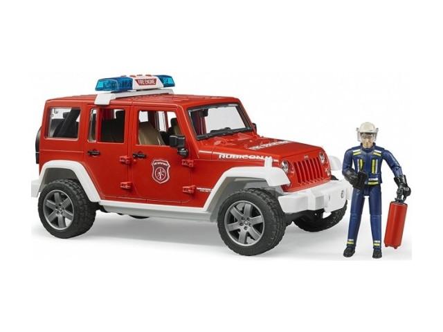 Игрушка Bruder Внедорожник Jeep Wrangler Unlimited Rubicon Пожарная с фигуркой 02-528 фото