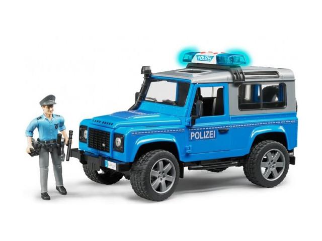 Игрушка Bruder Внедорожник Land Rover Defender Station Wagon Полицейская с фигуркой 02-597