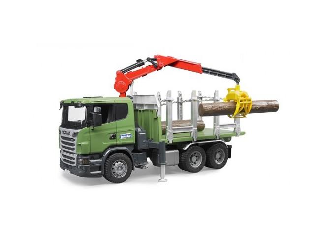 Игрушка Bruder Лесовоз Scania с портативным краном и брёвнами 03-524