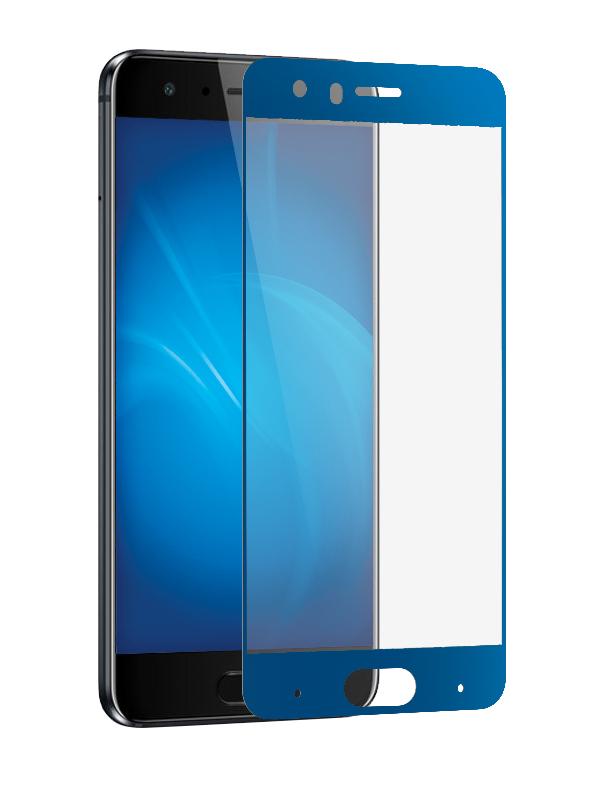 Закаленное стекло DF для Honor 9 Full Screen + Glue Blue Frame hwColor-28