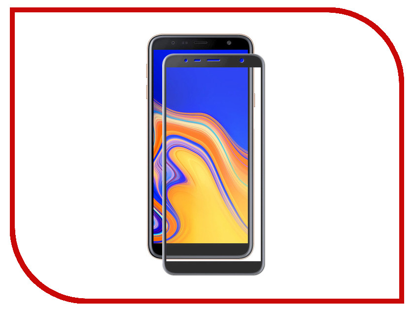 Аксессуар Закаленное стекло для Samsung Galaxy J4 Plus 2018 / J6 Plus 2018 DF Full Screen + Full Glue sColor-57 Black Frame аксессуар закаленное стекло для samsung galaxy s10 lite df 3d full screen black scolor 64