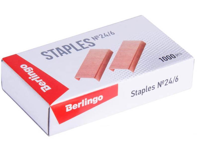 Скобы для степлера Berlingo №24/6 1000шт Copper SH610
