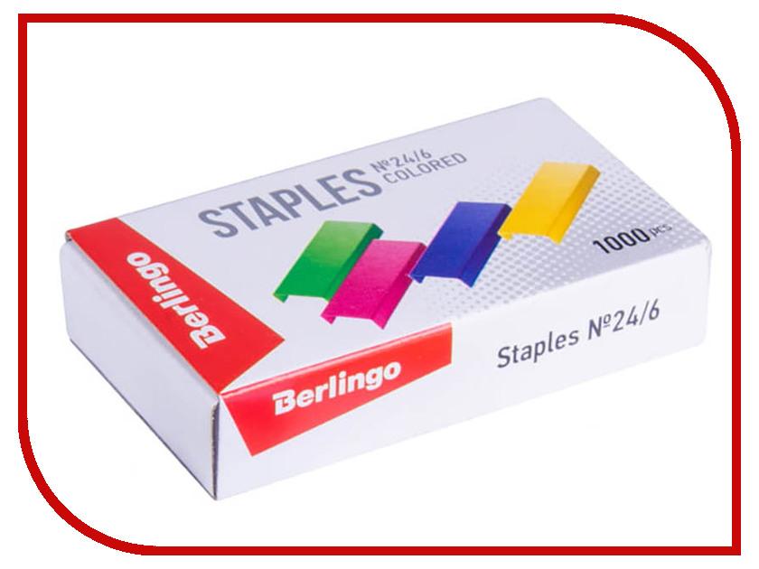 Купить Скобы для степлера Berlingo №24/6 1000шт Colored SH710