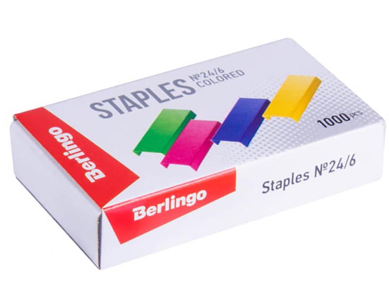 Скобы для степлера Berlingo №24/6 1000шт Colored SH710