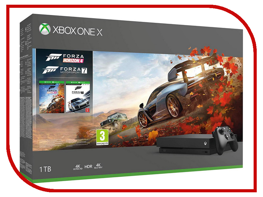 Игровая приставка Microsoft Xbox One X 1Tb Black CYV-00058 + Forza Horizon 4 + Forza Motorsport 7 portable wall mount stand holder for xbox one kinect 2 0 sensor black