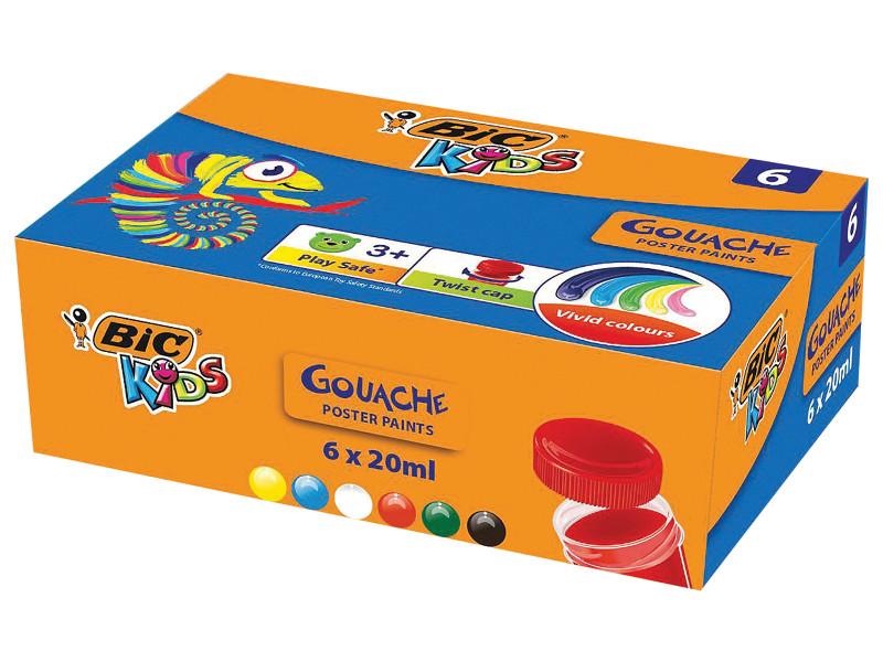 Гуашь Bic Kids 6 цветов 20ml 947714 карандаши bic kids