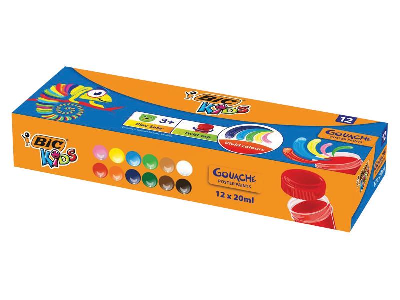 Гуашь Bic Kids 12 цветов 20ml 947715 фломастеры bic kids colour