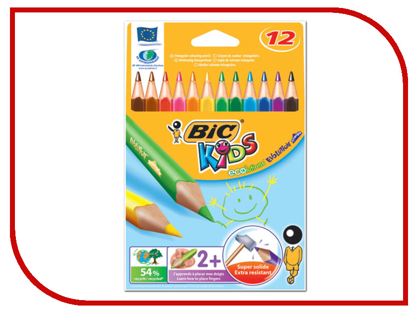 Карандаши цветные Bic Triangle 12 цветов 829735 карандаши восковые мелки пастель bic карандаши evolution 93 заточенные 18 цветов