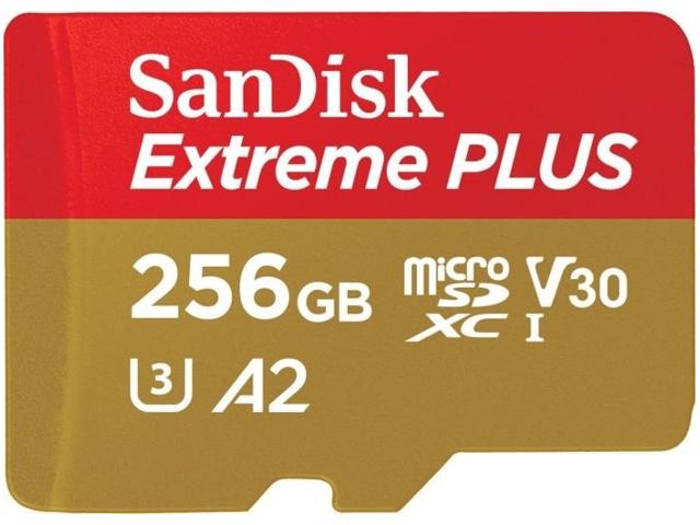Карта памяти 256Gb - SanDisk MicroSD Extreme Plus Class 10 SDSQXBZ-256G-GN6MA с переходником под SD