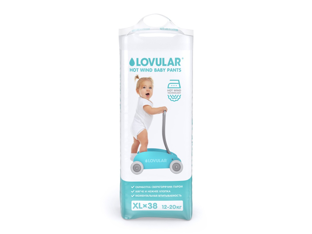 Подгузники Lovular Hot Wind ХL 12-20кг 38шт