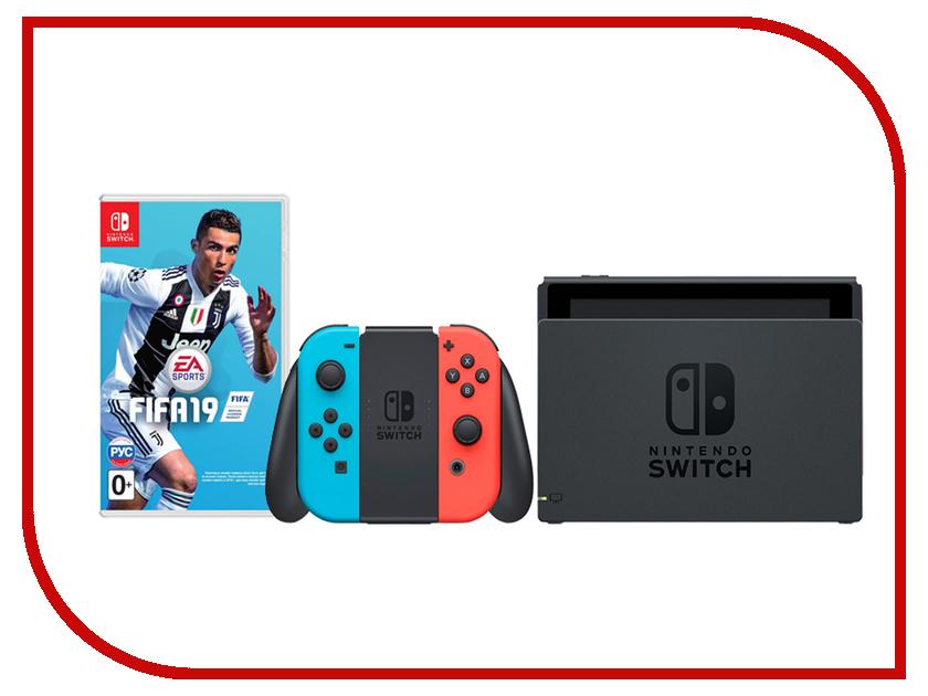 Игровая приставка Nintendo Switch Neon Red-Neon Blue + FIFA 19 silicone protective case for nintendo switch gray