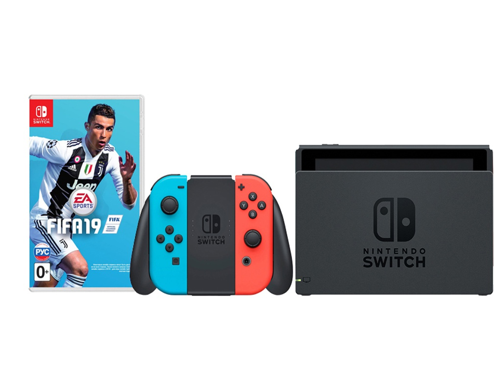 Игровая приставка Nintendo Switch Neon Red- Blue + FIFA 19