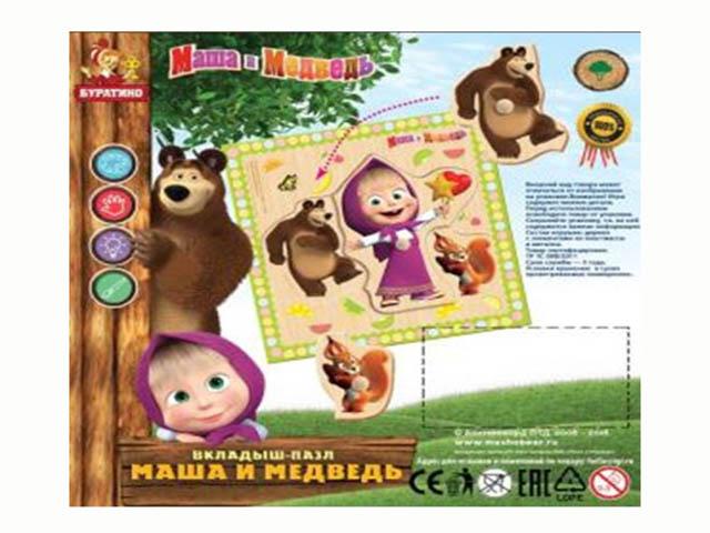 Развивающая игрушка Буратино Маша и Медведь Вкладыш 20-1-1