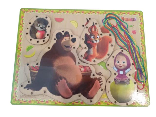 Развивающая игрушка Буратино Маша и Медведь Шнуровка 160221-2