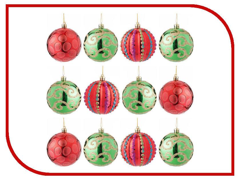 Украшение Lefard Набор шаров Модные завитки 12шт Red-Green 858-031 крючок lefard 768 304