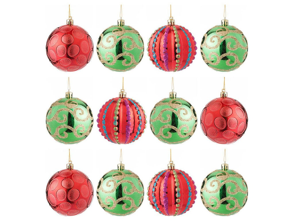 Украшение Lefard Набор шаров Модные завитки 12шт Red-Green 858-031