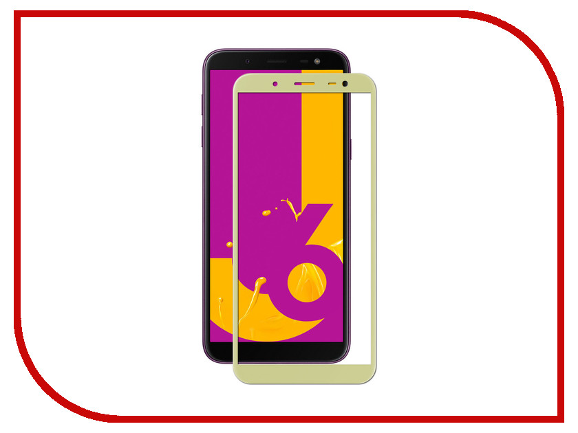 Аксессуар Защитное стекло Krutoff Full Screen для Samsung Galaxy J6 2018 SM-G600 Gold 02636
