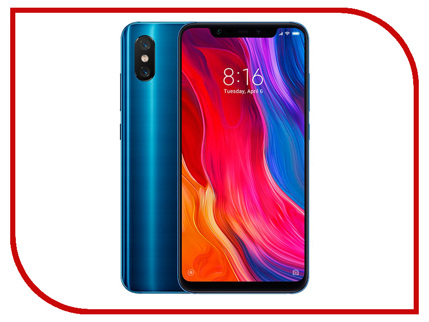 Сотовый телефон Xiaomi Mi8 6/64GB Blue сотовый телефон htc u11 64gb silver